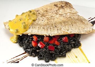 Tasteful Halibut - Close up of plate of halibut fillet over...