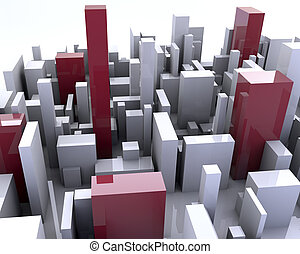 Building simulation - Simulation of a city with buildings 3d...