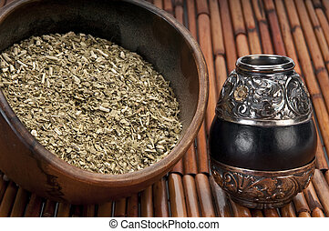 Bowl of yerba and mate - Close up of bowl of yerba mate and...