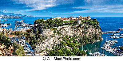 prince's palace in Monte Carlo, Monaco - Panoramic view of...