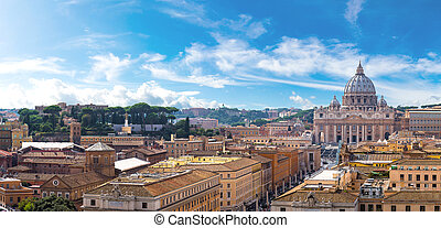 Rome and Basilica of St. Peter in Vatican - Panorama of Rome...