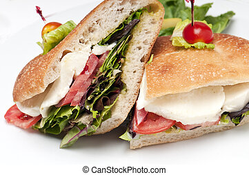 Mozzarella Sandwich - Close up of sandwich of mozzarella,...