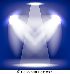 Stage Spotlight Blue Background - Spotlights Isolated on...