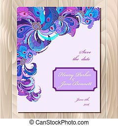 Peacock feathers wedding card. Printable vector background...