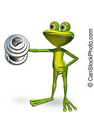 Frog in front of a dumbbell lifts - Illustration a frog...