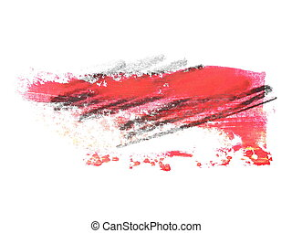 red grunge brush strokes oil paint isolated on white...