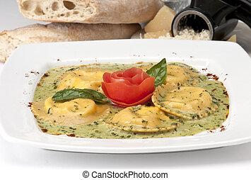 Lobster Ravioli - Plate of Ravioli de Aragosta, Pasta filled...