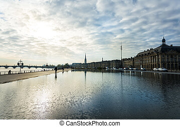 Street view of Place De La Bourse in Bordeaux city, France...