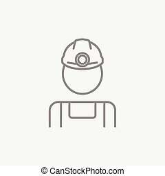 Coal miner line icon - Coal miner line icon for web, mobile...