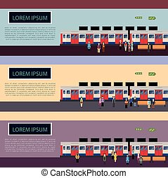Set of Subway train banners - Vector image of a banners with...