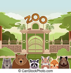 Zoo gate with forest animals