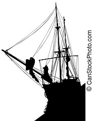 Ship - Silhouette of sailing ship on white background