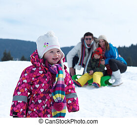 winter family - Winter playing, fun, snow and family...