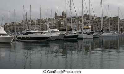 The view on Birgu and  yacht marina, Birgu, Malta