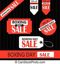Boxing day Retail Tags in red and white