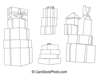 Presents Pile isolated on White Background