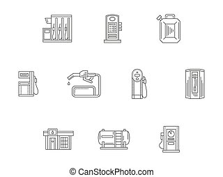 Filling and charge station flat line vector icons - Gas...