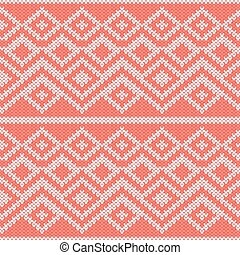 Knitted Seamless Pattern in Gray and Peach Colors - Abstract...