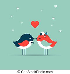 Valentine's day, love greeting card, wedding invite with birds