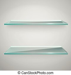 Empty advertising glass shelves with a spot lignt