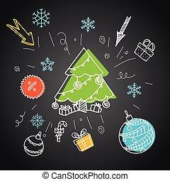 Christmas sale doodle elements