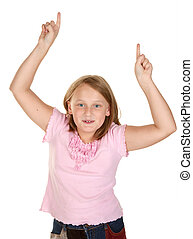 girl doing the winners dance - young girl doing the winners...