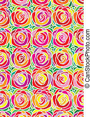 Rose Pattern - Vector illustration of colorful rose pattern...