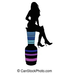 girl and vase porcelain vector silhouette