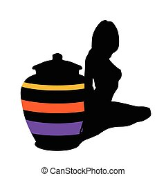 girl and vase vector silhouette