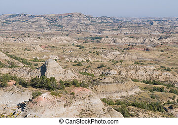 Badlands - The Badlands, Theodore Roosevelt National Park,...