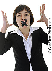 no speech - business woman isolated on white with black tape...