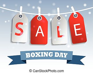Boxing day sale tag hangig - Snow sale tag hangig red and...