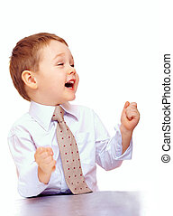 successful business child expressing positivity
