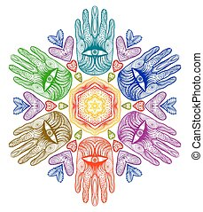 Vector Mandala with hands. Hamsa. Helping hands for your design. EPS10.