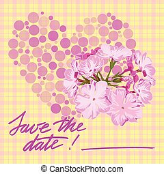Greeting wedding card with flower Vector illustration