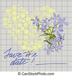 Greeting wedding card with flower. Vector illustration