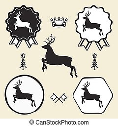 christmas reindeer silhouett symbol emblem label collection...