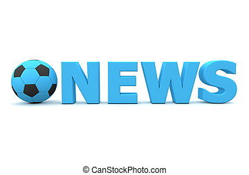 Football News - Blue - football/soccer ball with word News...