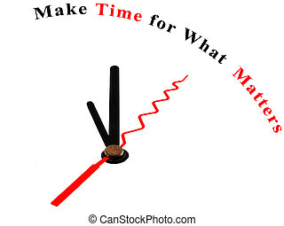 Time for What Matters on a clock - The words Make Time for...