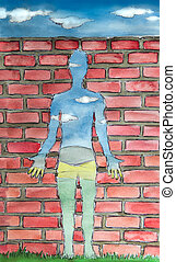 empty human surrealism watercolor - human shaped window,...