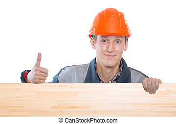 Construction worker in orange hard hat