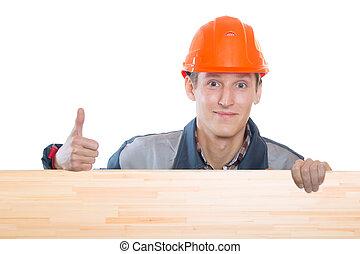 橙, 帽子, 建設, 努力, 工人