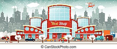 Shopping center in the city Winter - Vector illustration of...