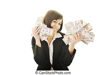 money, money, money - happy young business woman isolated on...