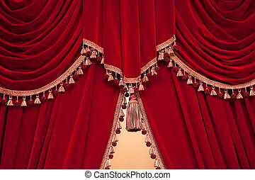red theater curtain with tassels