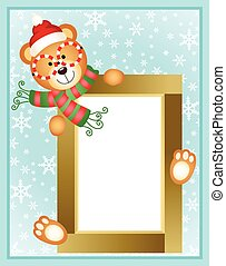 Christmas teddy bear frame