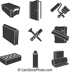Building materials icons - Building materials black and...