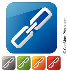 catena, collegamento, Icone, in, 5, colori, con, diagonale,...
