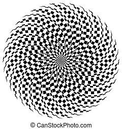 Hypnotic spiral / burst element in checkered fashion....