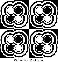 Seamlessly repeatable pattern with abstract shapes. Vector art.